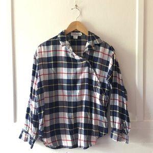 Vintage Diagonal Button-Down Plaid Flannel Shirt